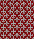 Красный цвет и ткань Сер Fleur De Lis Текстурировать предпосылка Стоковая Фотография RF