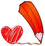красный цвет карандаша сердца иллюстрация вектора