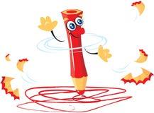 красный цвет карандаша шаржа иллюстрация штока