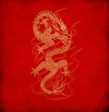 красный цвет китайского дракона старый бумажный Стоковые Изображения