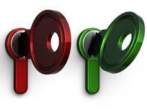 красный цвет ключа зеленого цвета конца 3d Стоковая Фотография RF