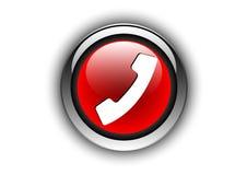 Красный цвет кнопки телефона лоснистый Стоковые Фото