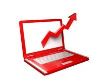 красный цвет компьтер-книжки диаграммы стрелки 3d Стоковое фото RF