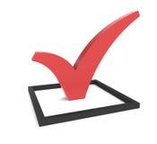 красный цвет контрольной пометки checkbox Стоковое Изображение RF