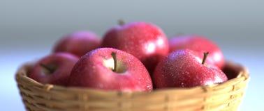 красный цвет корзины яблок Стоковое Фото