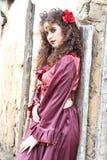 красный цвет красивейшей девушки платья цыганский Стоковое Изображение