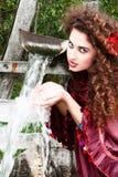 красный цвет красивейшей девушки платья цыганский Стоковая Фотография RF