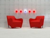 красный цвет кресла 3d Стоковые Фотографии RF