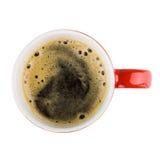 красный цвет кружки кофе над взглядом Стоковое фото RF
