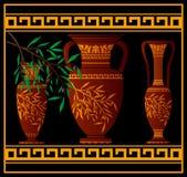 красный цвет кувшина amphoras греческий иллюстрация штока
