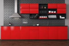 красный цвет кухни самомоднейший иллюстрация штока