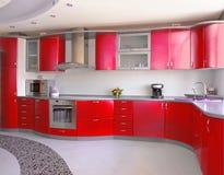 красный цвет кухни Стоковая Фотография