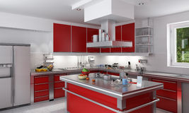 красный цвет кухни Стоковое Изображение