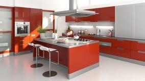 красный цвет кухни иллюстрация штока
