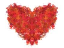 красный цвет листва изолированный сердцем Стоковые Изображения RF