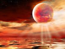 красный цвет луны Стоковое Изображение