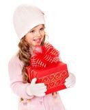 красный цвет малыша подарка рождества коробки Стоковые Фото