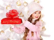 красный цвет малыша подарка рождества коробки Стоковые Изображения