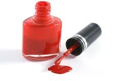 красный цвет маникюра Стоковые Изображения