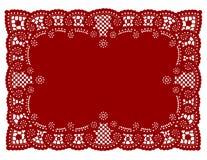 красный цвет места циновки шнурка doily иллюстрация вектора