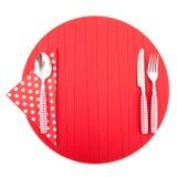 красный цвет места циновки cutlery Стоковое Изображение