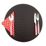 красный цвет места циновки cutlery Стоковая Фотография