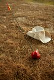 красный цвет метафоры стрелки яблока говорит william Стоковая Фотография