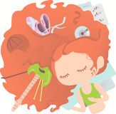 красный цвет мечтая девушки с волосами Стоковое Изображение RF