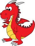 красный цвет милого дракона шаржа счастливый Стоковое фото RF