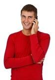 красный цвет мобильного телефона человека платья говорит Стоковое фото RF