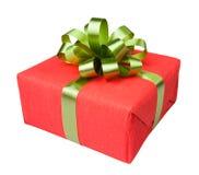Красный цвет настоящего момента коробки подарка Стоковые Фото