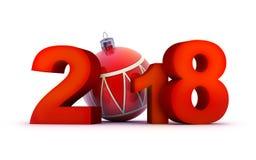 Красный цвет 2018 Нового Года знака потехи Стоковые Изображения RF