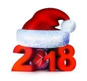 Красный цвет 2018 Нового Года и крышка santa Стоковая Фотография RF