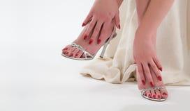 красный цвет ногтя Стоковое Фото