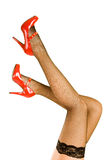 красный цвет ног обувает женщин Стоковые Фотографии RF