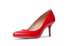 красный цвет обувает женщину стоковое изображение