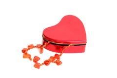 красный цвет ожерелья коробки Стоковое Изображение