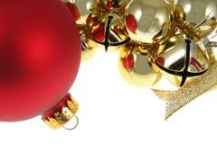 красный цвет орнамента золота колоколов bauble Стоковые Изображения RF