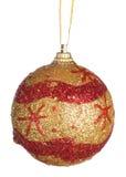 красный цвет орнамента золота рождества шарика Стоковые Фотографии RF