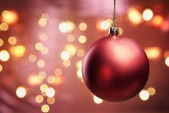 красный цвет орнамента освещения рождества нерезкости Стоковые Изображения RF