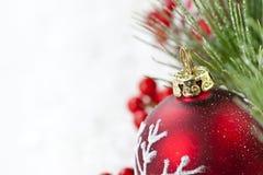 красный цвет орнамента рождества граници Стоковые Изображения RF