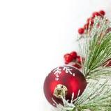 красный цвет орнамента рождества граници Стоковые Изображения