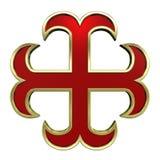 красный цвет перекрестного золота рамки heraldic Стоковое Изображение