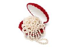 красный цвет перлы коробки шариков Стоковые Изображения