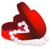 красный цвет перлы коробки Стоковые Фото