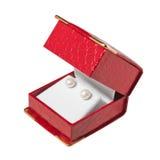 красный цвет перлы серег коробки Стоковая Фотография