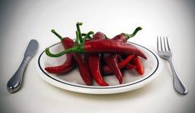 красный цвет перца тарелки Стоковое фото RF