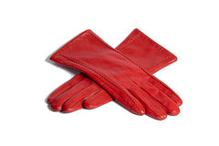 красный цвет перчаток кожаный Стоковое Фото