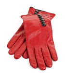красный цвет перчаток кожаный Стоковое Изображение