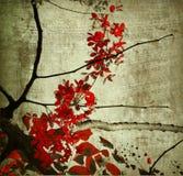 красный цвет печати Кералы grunge цветения искусства Стоковые Изображения RF